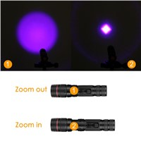 AA/14500 Battery UV 395nm Purple Light Flashlight Portable LED Penlight 3 Modes Zoomable Lamp Torch Lighting For Money Checking