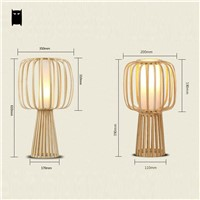 Bamboo Table Lamp Fixture Asian Rustic Japanese Style Shade Desk Light Avize Luminaria Indoor Home Bedroom Bedside Study Room