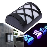 7-Color Outdoor Water-proof Wall-mounted Solar Powerd 6 LED Light Garden Path Landscape Fence Yard Emergency Security Wall Lamp