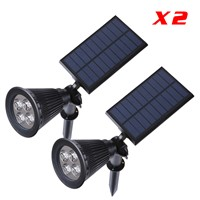 2pcs/Lot Outdoor Garden Led Solar Light  2 in 1 installation 4LEDs Solar Power Wall Spotlight Lawn Lamp Landscape Spot Light