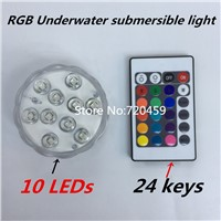 Waterproof LED Underwater submersible light RGB Swimming Pool Light  With Operated 24Key Wireless Remote controller for Aquarium