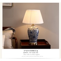 Chinese Blue and White Porcelain Desk Lamps Dimmable Ceramic Reading lamp China Flower Home Lights Bedroom Bed Side Table Light