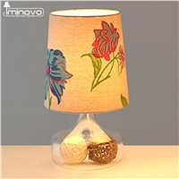 IMINOVO Decoration Table Lamps Blue/Beige Printing Fabric Lampshade E27 110V/220V Lamp Desk Lamp Lights Bedside Living Room