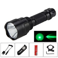 800LM CREE  Green Light LED Flashlight Torch Tactical Pressure Switch Mount Gun