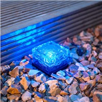 Solar LED Ice Cubes Buried Light Outdoor Imitation Crystal Ice Glass Brick Underground Light for Garden Square Floor Solar Light