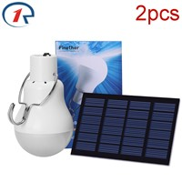 ZjRight 2pcs/lot Solar Power Portable Led Bulb Lamp Solar Energy lamp led lighting solar panel light Energy Solar Camping Lights