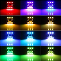 Lumiparty 2pcs Remote Control RGB LED  DC12V 31mm SMD 5050 Car Interior Car Dome Reading Light Super Bright Lamp Bulb Auto Inter