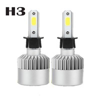 High or Low Beam LED Headlights   Headlamp Lamp Bulbs auto accessory  COB Chips H3 Kits  Auto Car LED 6000K LED Bulbs