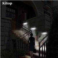 Kitop 9 Leds PIR solar led light Waterproof Wall lamp With battery Outdoor White light for Yard Patio Path Fence Garden
