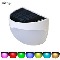 Kitop RGB Color Changing Solar LED Lighting Wall Lamp Outdoor Semi Circle for Garden Patio Stairway Pathway Deck