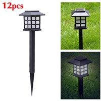 12 PC/LOT Black Solar Power LED Outdoor Path Light Yard Garden Lawn Landscape Spot Lamp Outdoor Lighting Ornament 25cm x 8.5cm