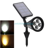 4 LED Lights Solar Power Spotlight Garden Lawn Lamp Landscape Outdoor Waterproof #H028#