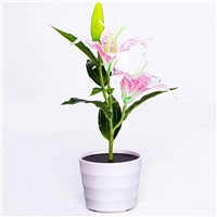 LumiParty Solar Power Garden Light Waterproof Pink Lily Flower LED Lamp Decorative Pot Plant Lamp