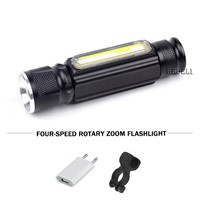 5000 lumens USB charging LED flashlight with magnet CREE T6 COB dual mode wick fine-tuning zoom flashlight 18650 battery torch