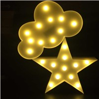 Led Wall Moon Lamp Cloud Lamp Star Snowflake Night Light Novelty Luminaria 3D Nightlight Marquee Letter Light For Children Decor