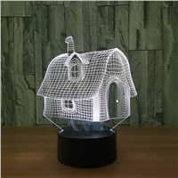 Bluetooth Speaker 3D Illusion Nightlight Cute cabin LED  Bedroom Lamp Lighting 7 Color Change Home Decoration LED Light