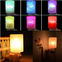 Cylinder Crystal Salt Lamp LED Mini Wall Lamps with Multi-Color Changing Bulb Air Purifying Dercor for Bedroom Corridor --M25