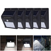 Jiawen 5pcs/lot LED Solar Lamp Waterproof PIR Motion Sensor Solar Light Power Garden LED Solar Light Outdoor ABS Wall Lamp