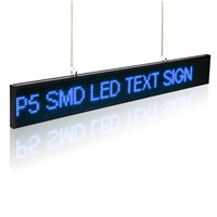 50cm P5 SMD Led Display Sign Module Edit Message Adjustable Brightness LED Display Board With Metal Chain Blue Time Countdown