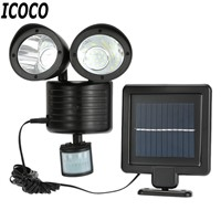 ICOCO 22 LED Rotatable Double Heads Motion Sensor LED Wall Lamp Human Movement Induction Outdoor Garden LED Solar Lights Sale