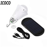 New Portable Energy Conservation 200LM LED Bulb Light with Solar Panel+USB Charging Line Outdoor Camping Tent Fishing Emergency