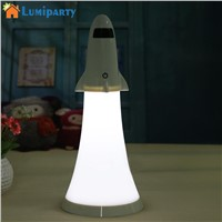 LumiParty LED Night light Adjustable Rocket Model Desk Lamp with Flashlight Function USB Rechargeable Table Lamp
