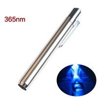 Stainless Steel 365nm UV Waterproof Led Flashlight Portable Mini Torch Ultraviolet Flashlight Detector Lamp for AAA Battery