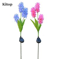Kitop 2PC Outdoor Decorative 3LED Solar Lamp Hyacinth Flower for Lawn Patio Pathway Driveway Landscape Lighting Waterproof