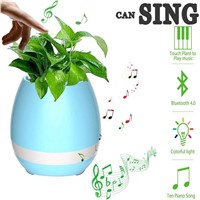 Multi-color LED Table Lamp Music Flowerpot Night Light Smart Plant Pots Bluetooth Wireless Speaker (whitout Plants) Best Gifts