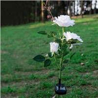 LED Solar Power White Rose Night Light Lawn Landscape Decoration Lights