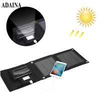 ADAINA Foldable Purse 5000mah Mobile Supply Solar Power Bank Universal Portable Solar Battery Mobile Phone Charging LED Light