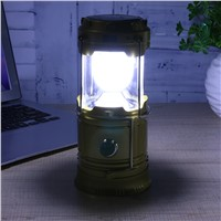 LED Solar Power Collapsible Flashlights Rechargeable USB Charging Camping Lamp Multifunction Portable Lantern