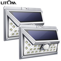 LITOM 2PCS 24 LED Solar Powered LED Security Lampion Super Bright Security Wall Spotlights Waterproof Garage Door Yard Lighting
