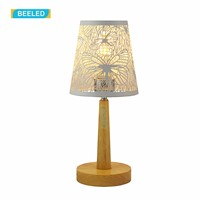 Table lamps for bedroom Night light White lampshade Table lamp for living room Home decorations for living room Wood lamp