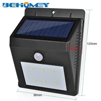 2Pcs Behomey 6 LEDs Outdoor Lighting PIR Motion Sensor Solar Light No Wiring Light Control Sensing Auto on/Off Function