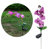 Solar Power Fake Flower Butterfly Orchid Garden Stake Landscape Lamp Outdoor Yard LED Light Yard Decoration--M25