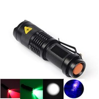 5 Lighting Colors XP-E Red/Green/White/Purple UV1000LM Aluminum alloy led Torch Zoomable Waterproof LED Flashlight Torch Light