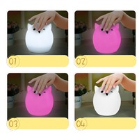 Colorful 7 Colors Pig Water droplets LED Children Animal Night Light Silicone Soft Cartoon Baby Nursery Lamp Breathing USB P20