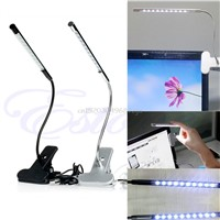 10 LED USB Clip-on Light Flexible Gooseneck Reading Touch Desk Table Lamp