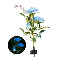 Solar Power Rose Flower Garden Stake Landscape Lamp Outdoor Yard 3 LEDs Lights --M25