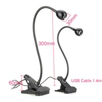 Desk Lamp With Clip Adjustable USB Flexible Goose Neck  Eye-care Beside Table Desk Lamp Laptop Book Studying Night Light DA