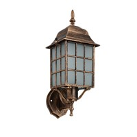 American vintage bronze aluminum waterproof outdoor wall sconce lamp European retro scrub glass E27 LED bulb wall light fixture