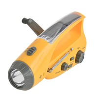 Solar Power Dynamo Hand Crank LED Flashlight Torch Emergency Outdoor Camping Light Tent Lamp + FM/ AM Radio + Charger for Phone