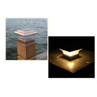 Solar Lights Square Outdoor Garden Fence Lights Plastic LED Post Cap Warm Yellow