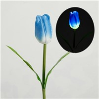 Solar Power Tulip Flower LED Light Lawn Lamp Garden Decorative Lights Blue