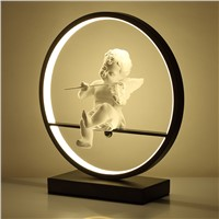GZMJ Wonderland Modern Black/White Table Lamp Round  Acrylic Decorative Lampadas Table Lights for Bedroom Angel Play the Guitar