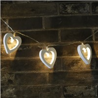 Wooden Heart Shape 10 LEDs Fairy String Lights Battery Powered for Christmas Wedding Party Garden Romantic Decoration