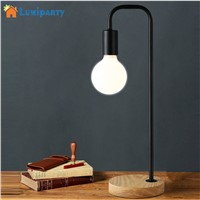 LumiParty LED Table Lamp Iron Design Wood Base Stand Simple Decoration Home Desk Night Lamp Bedroom Study Bedside Reading