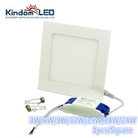KINDOMLED Square concealed LED Panel Light AC85-265V IP44 2835SMD 3/6/9/12/15/18/24W LED ceiling Light thin Ultra lamp downlight