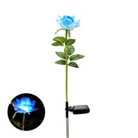 Solar Power LED Single Fake Rose Flower Garden Stake Landscape Lamp Outdoor Yard Party Decor Lights ALI88